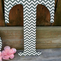 Chevron Wall Letter, Wooden Black and White with Chevron design