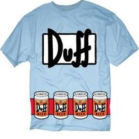 The Simpsons Duffman Costume Beer Belt Print Sky Blue Adult T-shirt  - The Simpsons - | TV Store Online