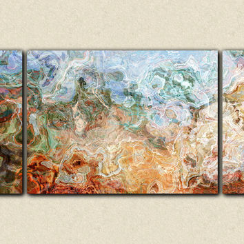 "Triptych abstract expressionism stretched canvas print, 30x60 to 40x78 in brown, green and red-orange, ""Rust Belt"""