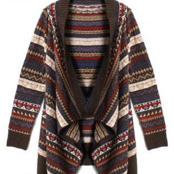 Zig Zag Tribal Pattern Open Cardigan with Ribbed Detail