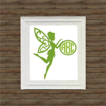FAIRY Monogram vinyl decal * wall decal * monogram on canvas * block script monogram * vine script monogram * names * init