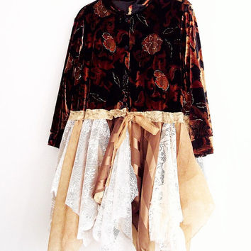 Bohemian Floral Velvet Duster. Tattered Velvet Dress #KheGreen #Ethical #Eco #vegan #fashion