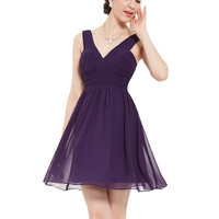 V-Neck Purple High-Waist Pleated Sleeveless Short Dress