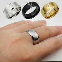 2015 Fashion Jewelry Simple Men Ring Superman Logo Finger Rings 3 Colors = 1946109380