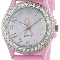 "Golden Classic Women's 2219_BC ""Savvy Jelly"" Rhinestone Pink Breast Cancer Awareness Silicone Watch"