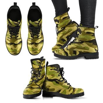 Green Camo Women's Leather Boots