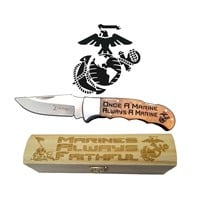"USMC ""Once A Marine Always a Marine"" Engraved Knife & Gift Box 