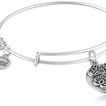 Alex and Ani Four Leaf Clover III Expandable Rafaelian Silver Bangle Bracelet