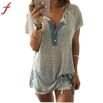 Clearance! Fashion Women blouse Loose Short Sleeve Sexy V neck Casual Button Blouse Shirt Tank Tops