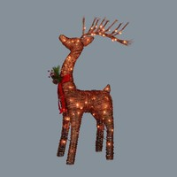 "48"" Pre-Lit Standing Rattan Reindeer with Red Bow and Pine Cones Christmas Outdoor Decoration"
