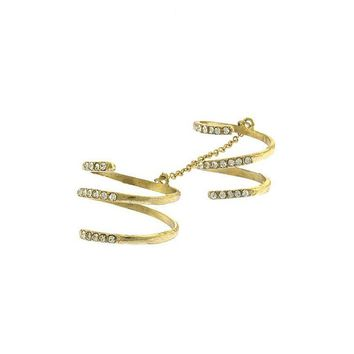 Crystal Spiral Double Linked Knuckle Ring