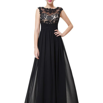 Black Ruched Lace Embroidered Maxi Dress