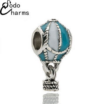 New Arrival 1PC Large Hole Silver Plated Diy Up and Away Hot Air Balloon Charm Bead Fit Pandora Snake Chain Bracelet Jewelry