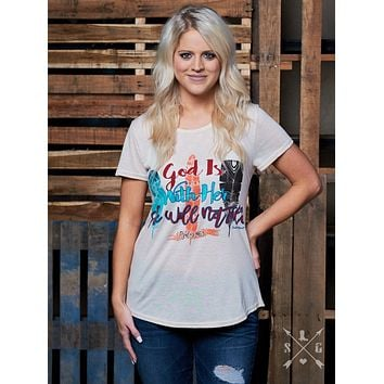 God Is With Her She Will Not Fall on Beige Short Sleeve High Low