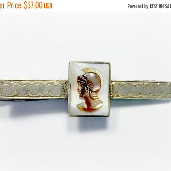 Vintage Tie Clip 975 Sterling Silver MOP Shell Carved Cameo Mother of Pearl Unique Outstanding Design On Bar Wonderful Wearable Collectible
