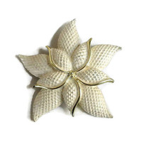 Cream Enamel Quilted style Flower Brooch Vintage Mid-Century