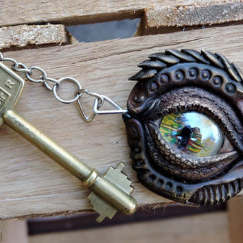 Dragon Eye Keychain - handmade - epoxi clay - glass bead acrylics