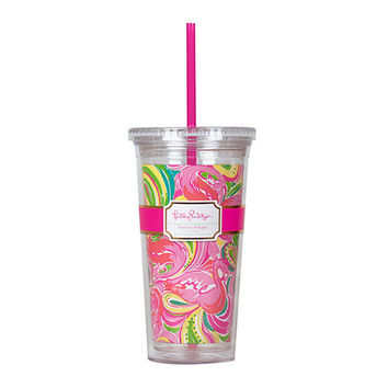 Tumbler with Straw in All Nighter by Lilly Pulitzer