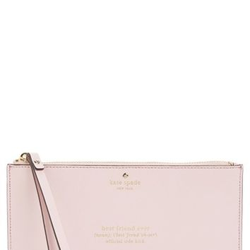 kate spade new york 'wedding belles - adra' leather zip pouch - Pink