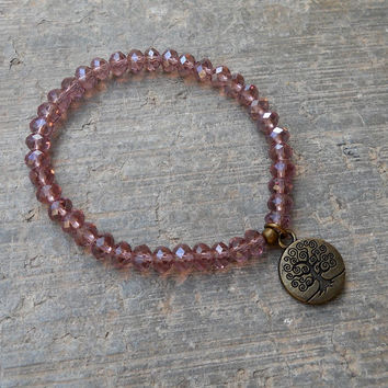 Light amethyst crystal with Tree of life bracelet