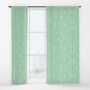 Green White Window Curtains Honey Dew Green White Flowers Botanical Pattern Drapes