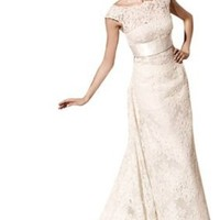Sexy Biggoldapple Sheath/Column Bateau Court Train Wedding Dress With Lace/Sash