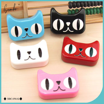 Lymouko New Style Cartoon Cute Little Cat Shape Portable with Mirror Contact Lens Case for Women Gift Contact Lenses Box