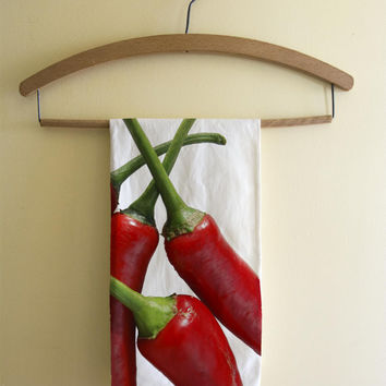 Red chilli peppers kitchen tea towel, cotton twill, kitchen decor art, photography, hot, green chillies food photo, vegetable kitchen decor