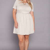 Plus Size Fit and Flare Mini Dress - Oatmeal