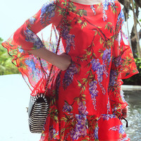 Red Floral Ruffled A-Line Mini Dress