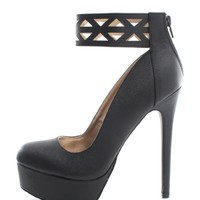 Black Strike A Pose Etched Ankle Strap Platform Pumps | $10.99 | Cheap Trendy Heels and Pumps Chic D