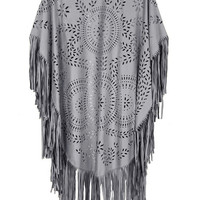 Grey Suedette Laser Cut Asymmetric Fringed Cape