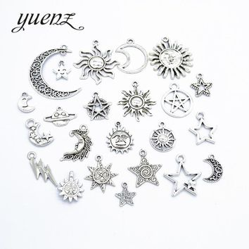 YuenZ 1 set Mix sale vintage silver star moon sun charms metal Pendant Jewelry making Accessories  U011