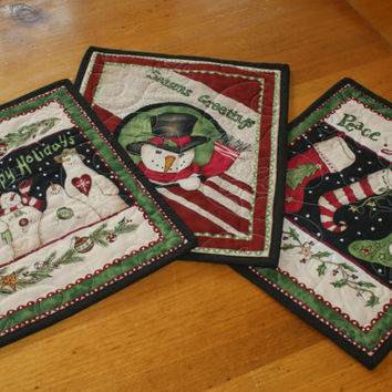 Set of 3 Holiday Christmas Snowman and Stocking Quilted Mug Rugs, Snack Mats, Fabric Coasters, Pot Holders, Trivets, Candle Mats
