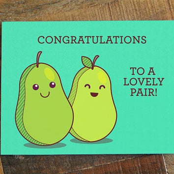 Funny Wedding Card - Congratulations To A Lovely Pair! Cute wedding or engagement card, wedding pun card, silly wedding card, humor card