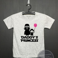 Daddy's Princess Star Wars Shrit - Kids Birthday Shirt - Girls Clothing - Funny Birthday - Darth Vader and Leia , Kid Shirt, Flock printing