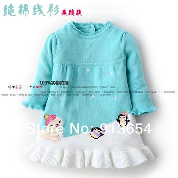 new 2014 spring autumn children sweater girl dress baby clothing child PULLOVER Knitwear kids dress baby girls princess dress