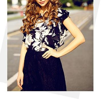 Women's Hawaiian Style Blouse - Ruffled Capped Sleeves / White Floral Print on Black