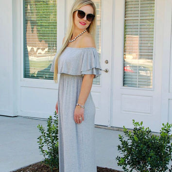 Off the Shoulder Getaway Maxi-Grey