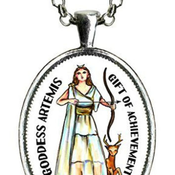 Guided By the Goddess Artemis Gift of Achievement Huge Pendant