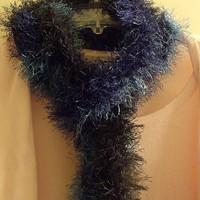 Blue Fun Fur Crochet Scarf by KraftyGrannysHome on Etsy