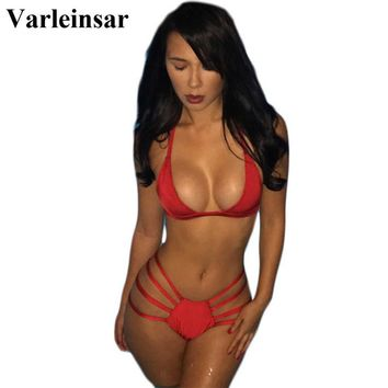 New black red Sexy strappy bikini string halter swimsuit swimwear women bathing suit bather biquini