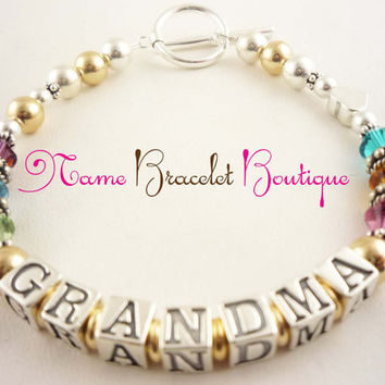Mothers Day Grandma Bracelet Grandmother Nana bracelet Personalized Sterling Silver 14 K gold Crystal Custom Child Name Bracelet, Great gift
