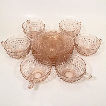 Pink Hobnail Teacups and Saucers, Set of 6 Pink Glass Teacups Anchor Hocking Hobnail
