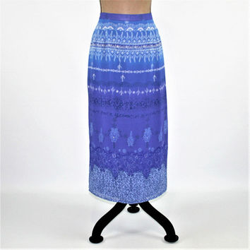 Petite Maxi Skirt Women Medium Long Chiffon Skirt Blue Purple Print Bohemian Boho Skirt Size 10 Plaza South Vintage Clothing Women Clothing
