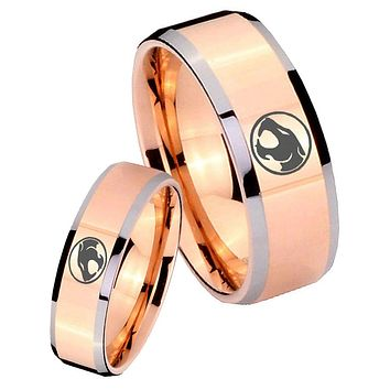 His Hers Thundercats Beveled Edges Rose Gold Tungsten Personalized Ring Set
