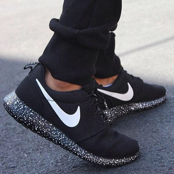 Custom Oreo Roshe Run Speckled Hand Painted Black White