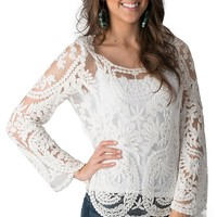 Karlie Women's White Lace Long Sleeve Top