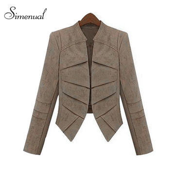 2016 Suede women jackets coats short cardigan autumn winter woman clothing fashion slim irregular female jacket coat outerwear