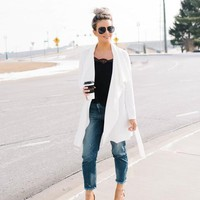 Hallie Drape Cardigan - White
